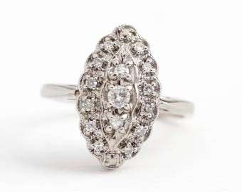 Diamond Navette Ring - 14K White Gold .38 CTW Shield Jewelry - Size 5 3/4 Art Deco 1940s Halo Engagement Fine Anniversary Statement Jewelry