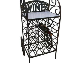 French Mediterranean Iron Wine Bar Cart Storage