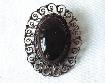 Vintage Mexican Sterling Silver Eagle Mark Pendant or Pin, EME 83, with Black Stone