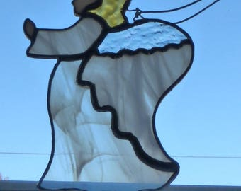 White, Stained Glass ANGEL Light Catcher