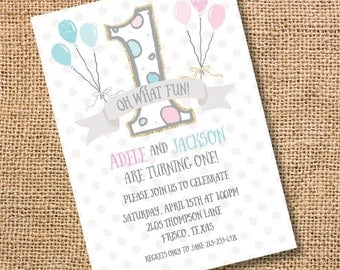 Twins Balloons Printable Invitation First Birthday Boy Girl Twins Invite Twin Boys 1st Birthday Invitation Twin Girls 1st bday invite