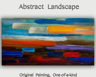 """sale Original Huge art  Modern impasto Texture Abstract Painting on cotton canvas by Tim Lam 48"""" x 24"""""""