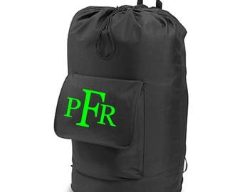 Personalized for FREE Blaack Back Pack Laundry Bag. Makes a GREAT Graduation Gift!