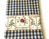 Navy blue ivory check dish towel  country style snowman Christmas tree border