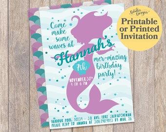 Mermaid Birthday Invitation, Mermaid Birthday Under the Sea Party Invitations, Printable Mermaid Invitations Under the Sea, Mermaid Party