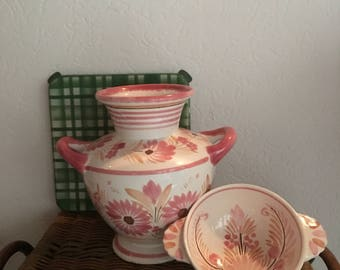 Vintage French Country Handpainted Pottery, HB Quimper Romantic Farmhouse Pink Cottage Chic Porringer Bowl