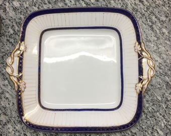 Vintage English Country Square Handle Cake Plate Blue and White, Gold Trim Handles, Romantic Farmhouse Cottage Chic Wedgwood Serving Plate