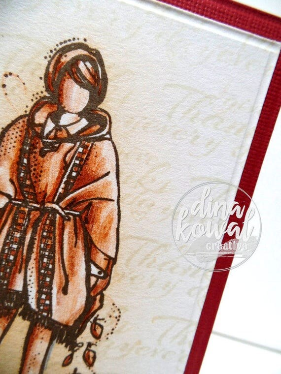 handmade greeting cards - Thankful Fall Girl