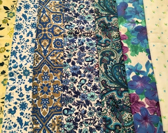 Vintage Fabric Lot of Mid-century Blue Prints