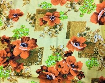 Vintage Mid-century Barkcloth Unused Modern 4 yards Retro Colors