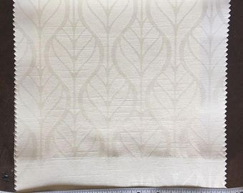 Custom Curtains Valance Roman Shade Shower Curtains in Ivory Leaf Pattern Fabric