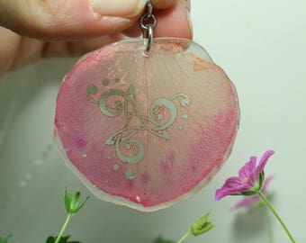 Rose Petal Pendant Music notes knot work Pink flower petal