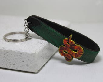 Corn Snake hand painted leather key fob Key Chain Reptile gift