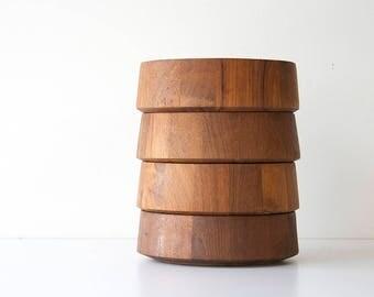 Vintage Danish Modern Dansk Staved Teak Bowls
