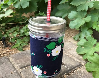 Navy flowers sleeve straw lid DIY mason jar tumbler