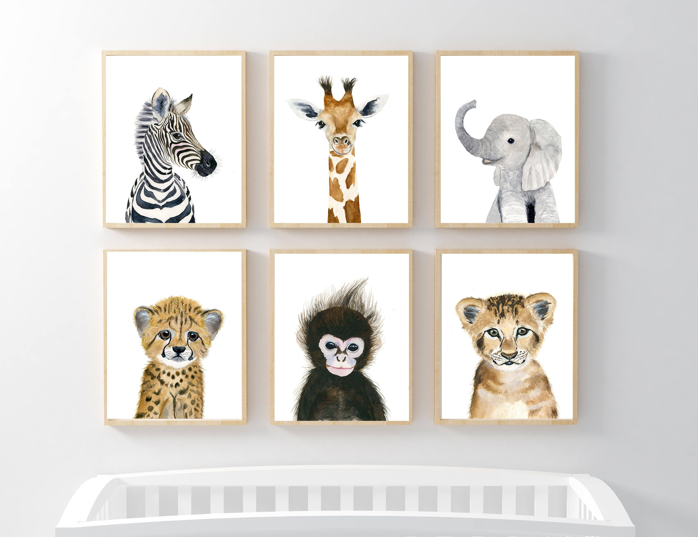 african baby animals nursery print set 6 safari nursery art. Black Bedroom Furniture Sets. Home Design Ideas
