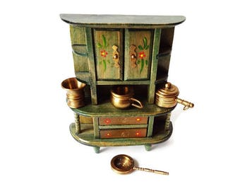 Collection of Brass Miniatures from Holland / Vintage Collectible Dutch Made Dollhouse Kitchen Decor/Pots and Pans
