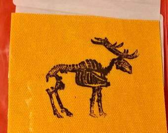 colored duck cloth screen printed elk skeleton patch