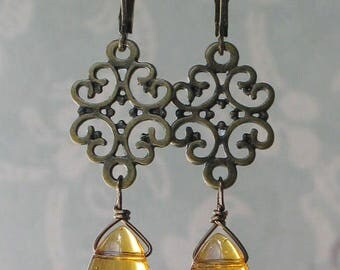Filigree and Amber Glass Earrings, 18th century jewelry, 19th century jewelry