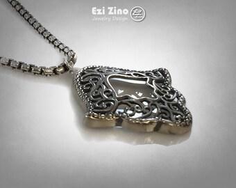 Hamsa Hand  Sterling Silver 925 Pendant By Ezi Zino
