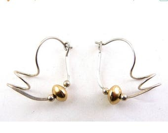Freeform Sterling Silver & Gold-Filled Pierced Earrings - Post Modern Chic