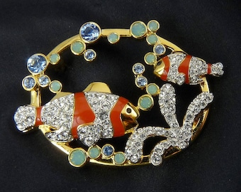 Swarovski Crystal Tropical Clown Fish In Coral Reef with Bubbles Pin