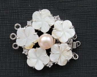 Large Carved Mother of Pearl Flower Freshwater Pearl Clasp Triple Strands
