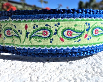 """Sale Dog Collar Paisley Lime 1"""" wide Quick Release buckle adjustable / no martingale"""