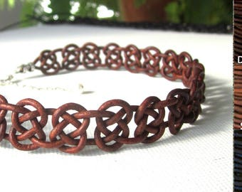 Leather Knotted Necklace Choker Celtic Inspired Womens Casual Jewelry Gift Adjustable Brown or Black
