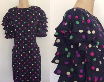 1980's Designer Louis Feraud Navy Polka Dot Silk Dress w/ Ruffle Sleeves Size Small Medium by Maeberry Vintage
