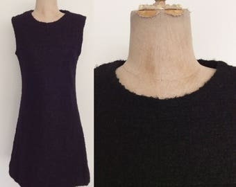 1970's Black Textured Mod Shift Dress Size Small by Maeberry Vintage