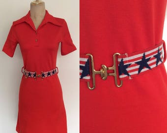 1970's Red Mod Mini Dress w/ Star Belt Size XS Small by Maeberry Vintage