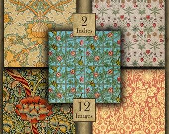 2 inch Digital Printable Squares 50.8mm WILLIAM MORRIS for Pendants Magnets Pinbacks Crafts ...Art Nouveau - Arts & Crafts Movement