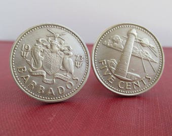 BARBADOS Coin Cuff Links - Repurposed Vintage Gold Five Cent Coins, Light House