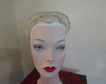 Vintage 1940's-1950's Lace Millinery Bridal Wedding Headpiece Tiara with Pearls-Juliette