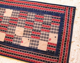 Patriotic Americana Independence Day Farmhouse Country Patchwork Quilted Table Runner