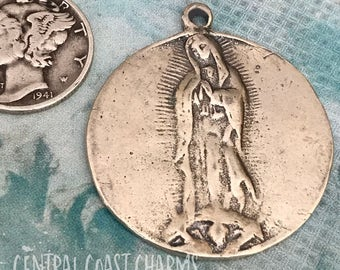 Solid Silver Our Lady of Guadalupe Artisan Charm Pendant - 28mm - Religious Medal Catholic Virgin Mary Spiritual - Central Coast Charms