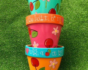 Thank you gift Thank you teacher Cherry on top Thank you from the bottom of my heart Thank you flower pot babysitter gift hostess gift