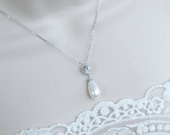 Bridal Necklace, Bridal Pearl Necklace, White Shell Based Tear Drop Pearl on Sterling Silver Chain, Wedding Jewelry