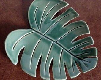 Monstera Leaf Tray, Ceramic Monstera Leaf, Bohemian Home Decor, Handmade Ceramic Tray, Jewelry Tray, Spoonrest, Ceramic Candle Tray