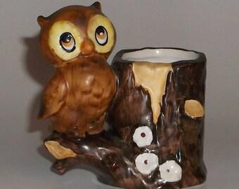 Vintage Retro Ceramic Owl Figurine Toothpick Pencil Holder - Japan