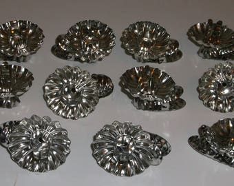 11 Vintage Metal Silvertone Christmas Tree Candle Clips Clip-ons