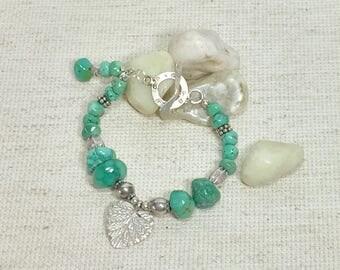 Turquoise bracelet, handmade bracelet, beaded bracelet, sterling bracelet, boho jewelry, mothers day gift, everyday bracelet, green bracelet