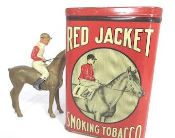 Antique Red Jacket Pocket Tobacco Tin Thoroughbred Race Horse Jockey RARE