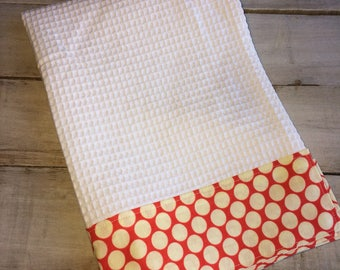 Kitchen Towel, Hand Towel, Tea Towel, Waffle Weave Towel, Dish Towel, Kitchen Hand Towel-Cherry Dot