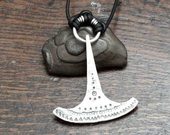 Large Silver Ukonvasara Pendant, a hand forged Finnish style hammer pendant made out of Sterling silver