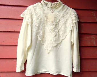 80s Victorian Style Cream Lace High Neck Prairie Wedding Bridal Blouse M 8 Sonya Ratay for San Andre'