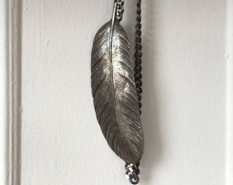 Silver FEATHER chain belt or necklace 1970s disco era boho