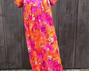 Bright floral MCM mumu caftan float tropical dress