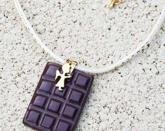 Collar of delicacies: chocolate, polymer clay